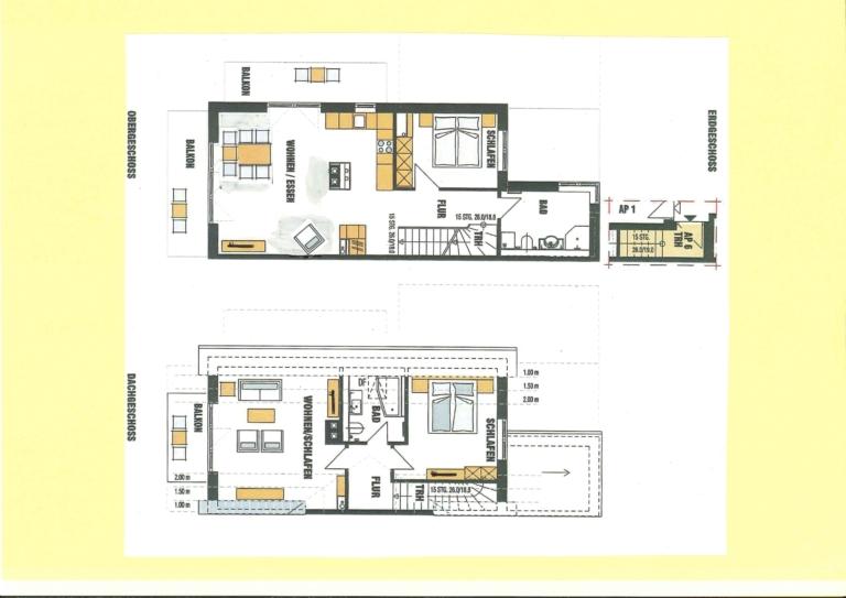 Die Wohnung erstreckt sich über zwei Ebenen
